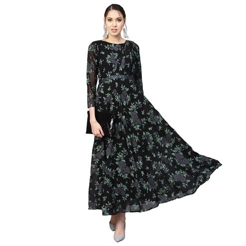 Glowing Black Colored Casual Wear Printed Georgette Long Kurti