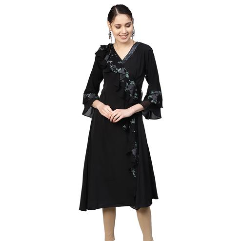Exceptional Black Colored Casual Wear Printed Georgette Kurti