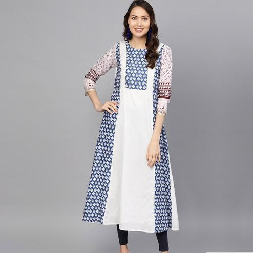 Gleaming White-Blue Colored Casual Wear Printed Cotton Kurti
