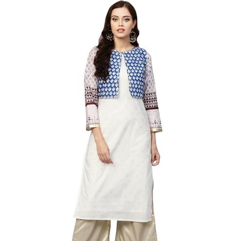 Unique White Colored Casual Wear Printed Cotton Kurti