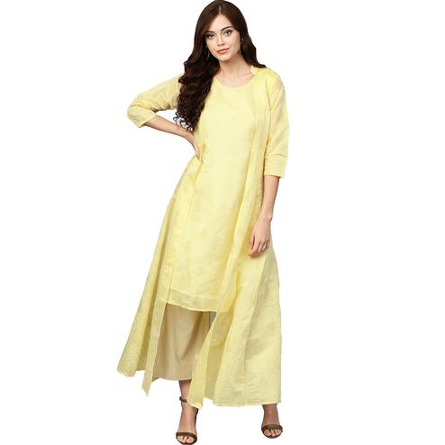 Refreshing Yellow Colored Casual Wear Printed Chanderi Silk Long Kurti