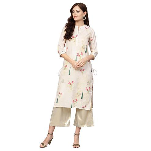 Hypnotic Off White Colored Casual Wear Printed Muslin Cotton Kurti