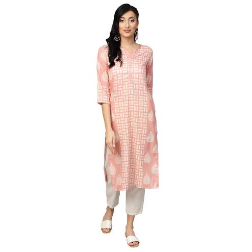 Excellent Pink Colored Casual Wear Printed Muslin Cotton Kurti
