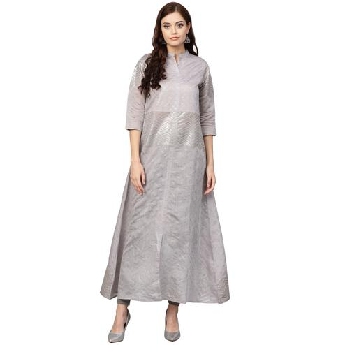 Preferable Grey Colored Casual Wear Chanderi Silk Long Kurti