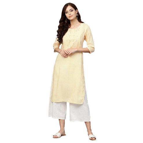 Alluring Light Yellow Colored Casual Wear Printed Muslin Cotton Kurti