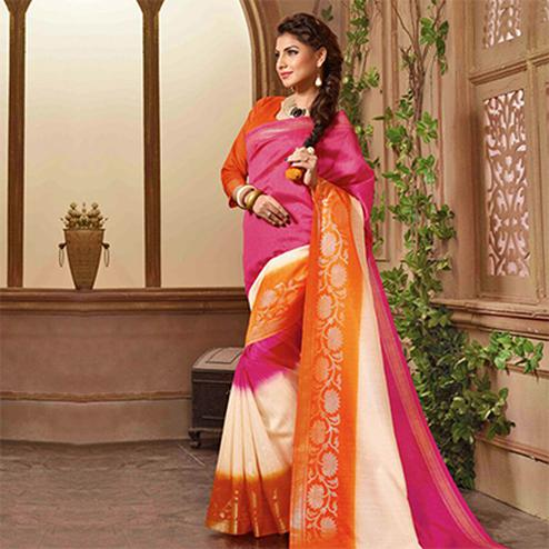 Pink - Orange Casual Wear Saree