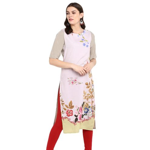 Flaunt Light Pink Colored Casual Wear Printed Crepe Kurti