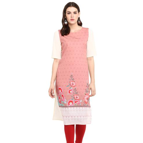 Groovy Pink Colored Casual Wear Printed Crepe Kurti