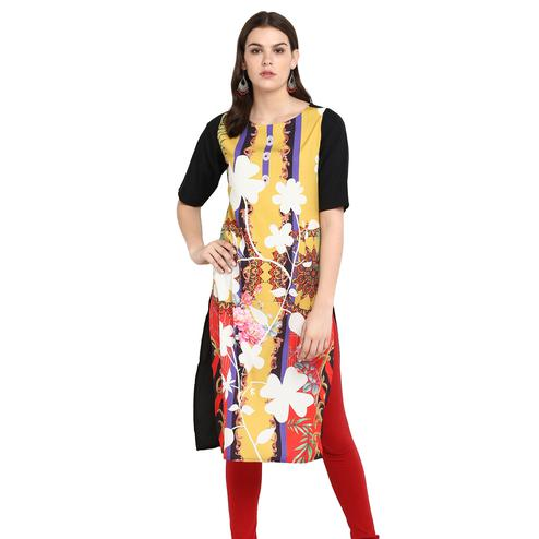 Adorning Multi Colored Casual Wear Printed Crepe Kurti
