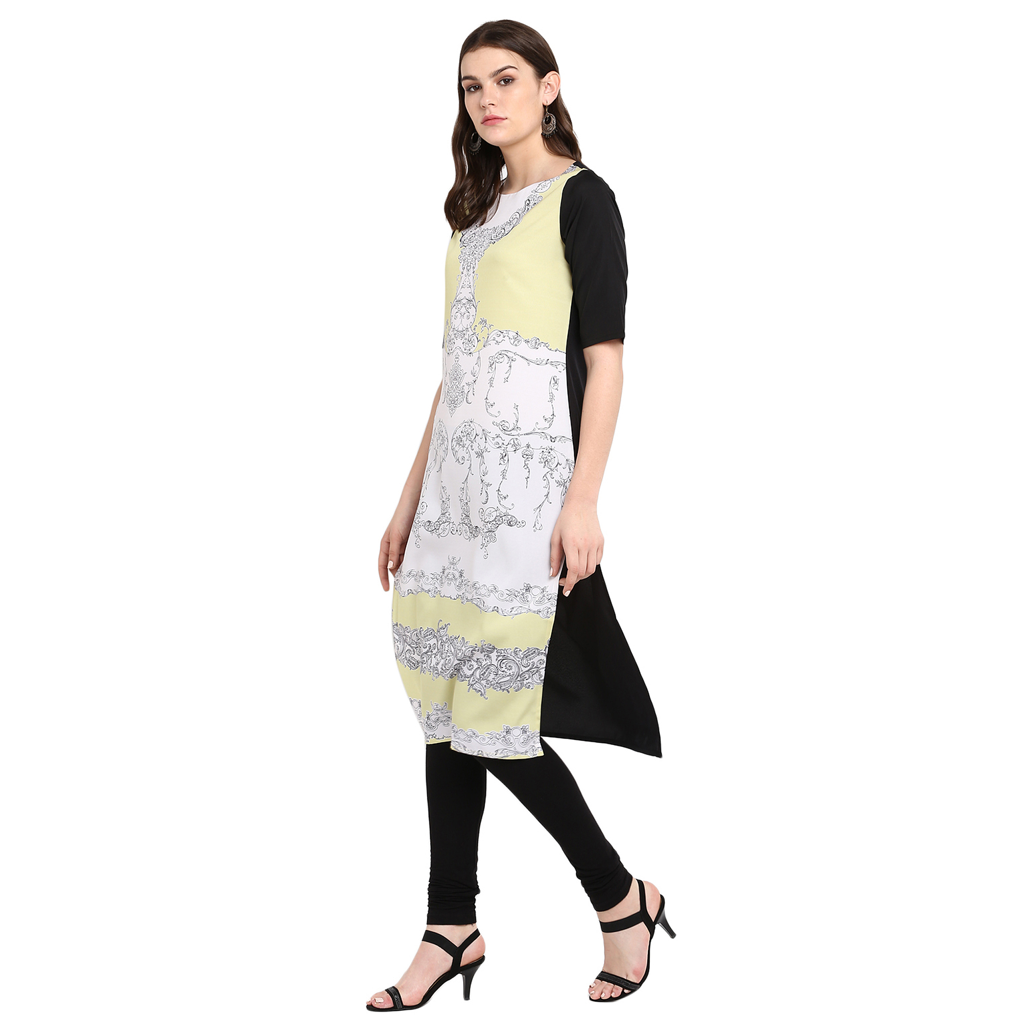 Blooming Off White-Cream Colored Casual Wear Printed Crepe Kurti