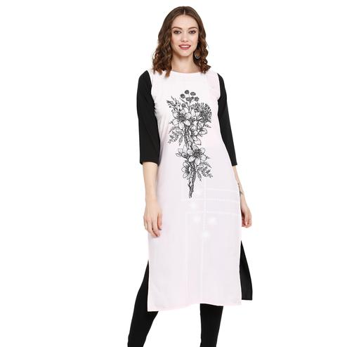 Amazing Light Pink Colored Casual Wear Printed Crepe Kurti