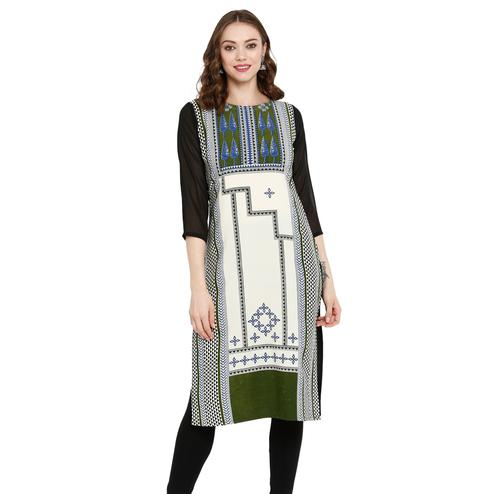 Gorgeous Multi Colored Casual Wear Printed Crepe Kurti