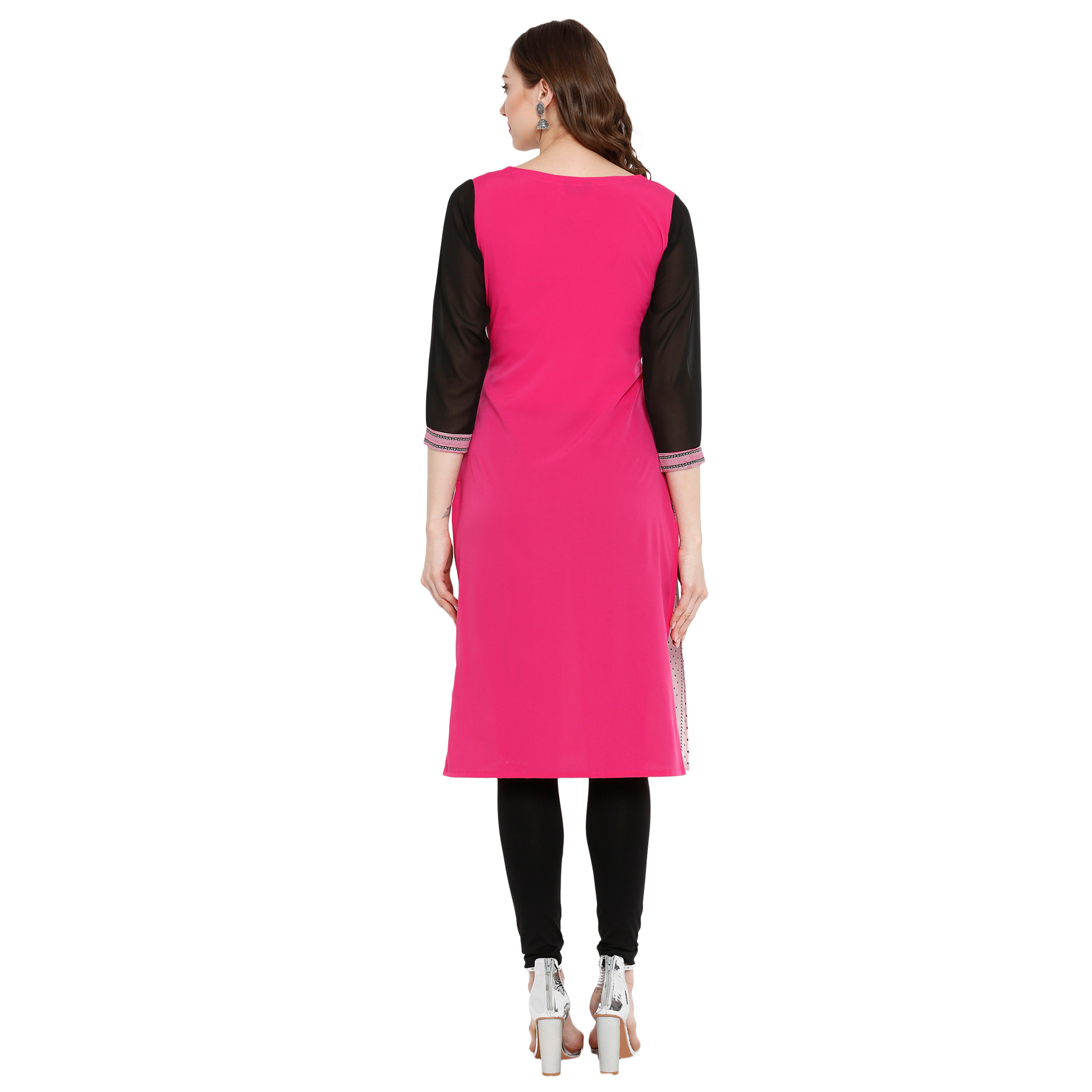Blissful Light Pink Colored Casual Wear Printed Crepe Kurti