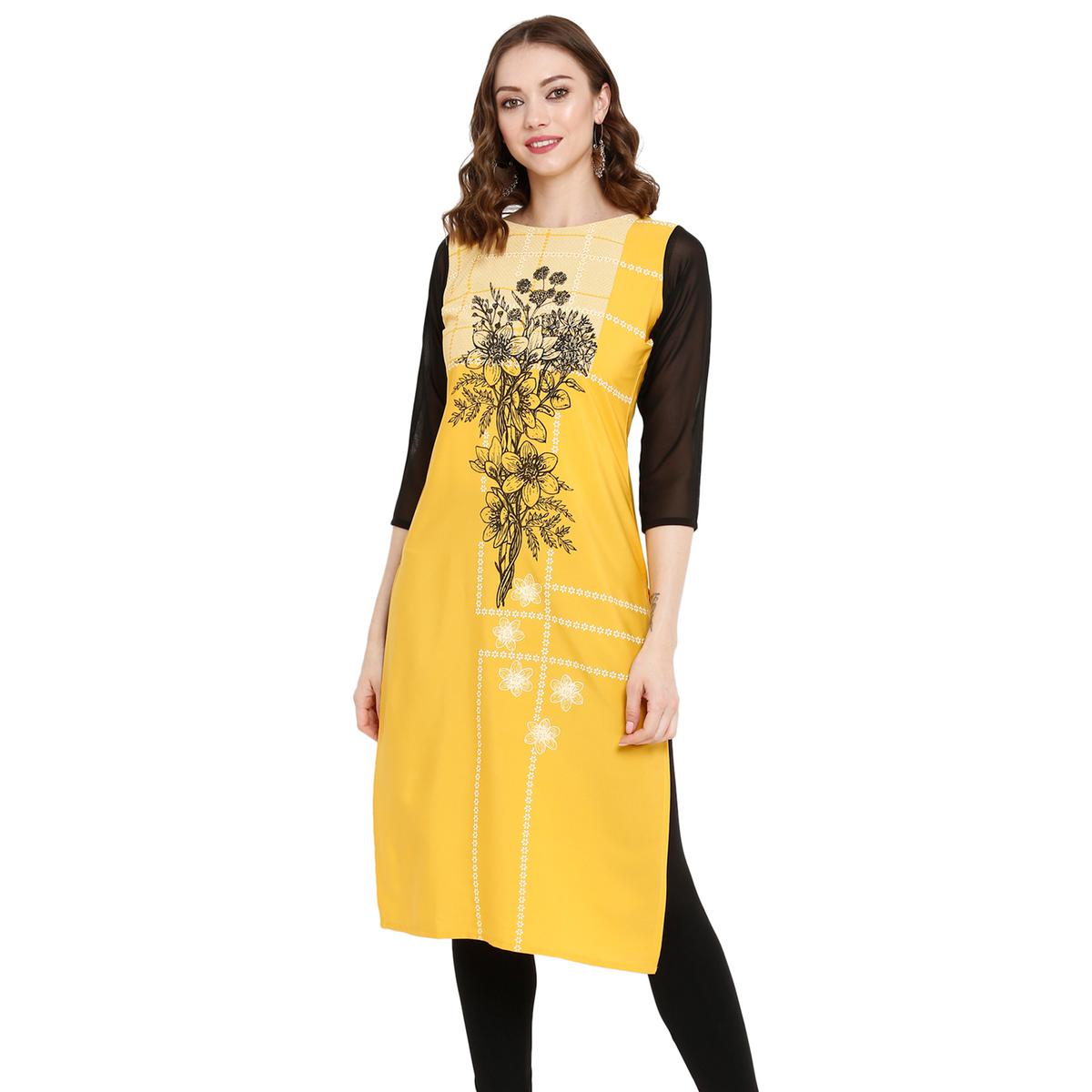 Ideal Mustard Yellow Colored Casual Wear Printed Crepe Kurti