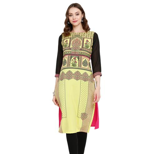 Imposing Yellow Colored Casual Wear Printed Crepe Kurti
