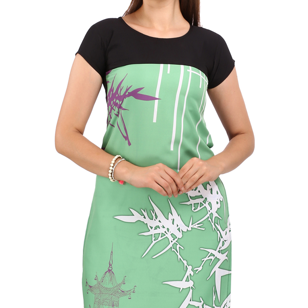 Green - Black Printed Crepe Kurti