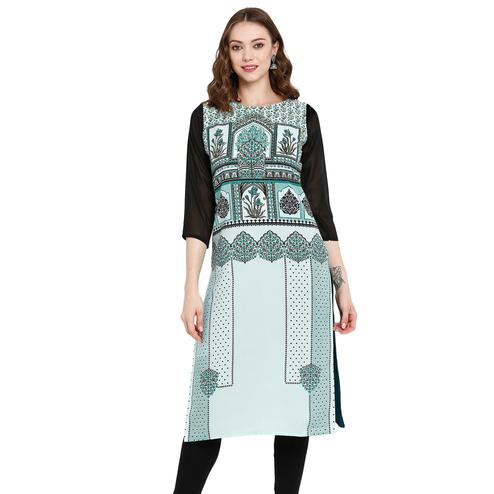Lovely Ligth Teal Green Colored Casual Wear Printed Crepe Kurti