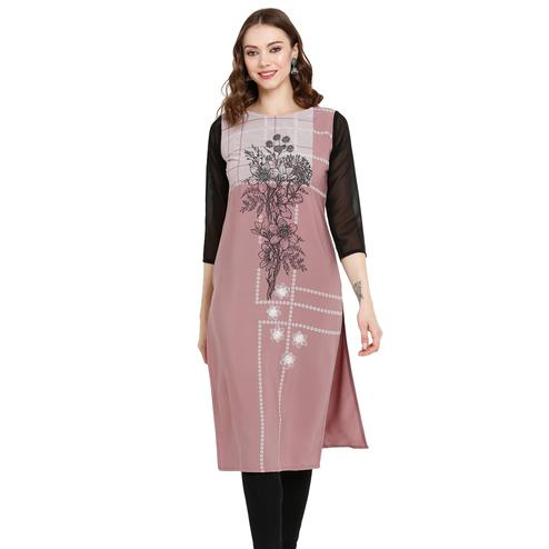 Majesty Mauve Colored Casual Wear Printed Crepe Kurti