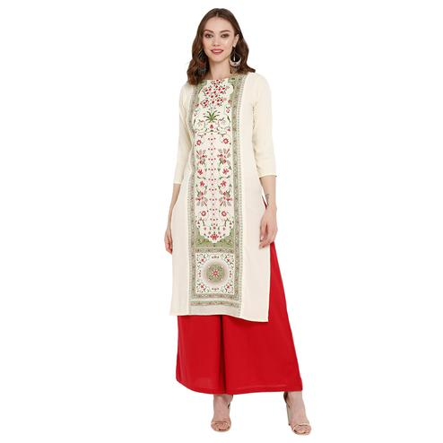 Impressive Cream Colored Casual Wear Printed Crepe Kurti