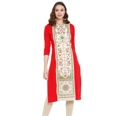 Mesmerising Cream Colored Casual Wear Printed Crepe Kurti