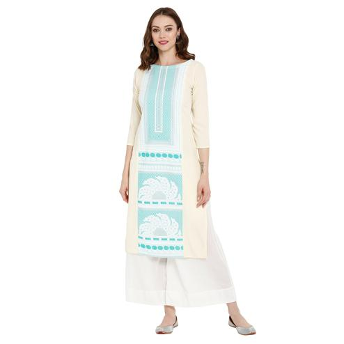 Pleasance Cream Colored Casual Wear Printed Crepe Kurti