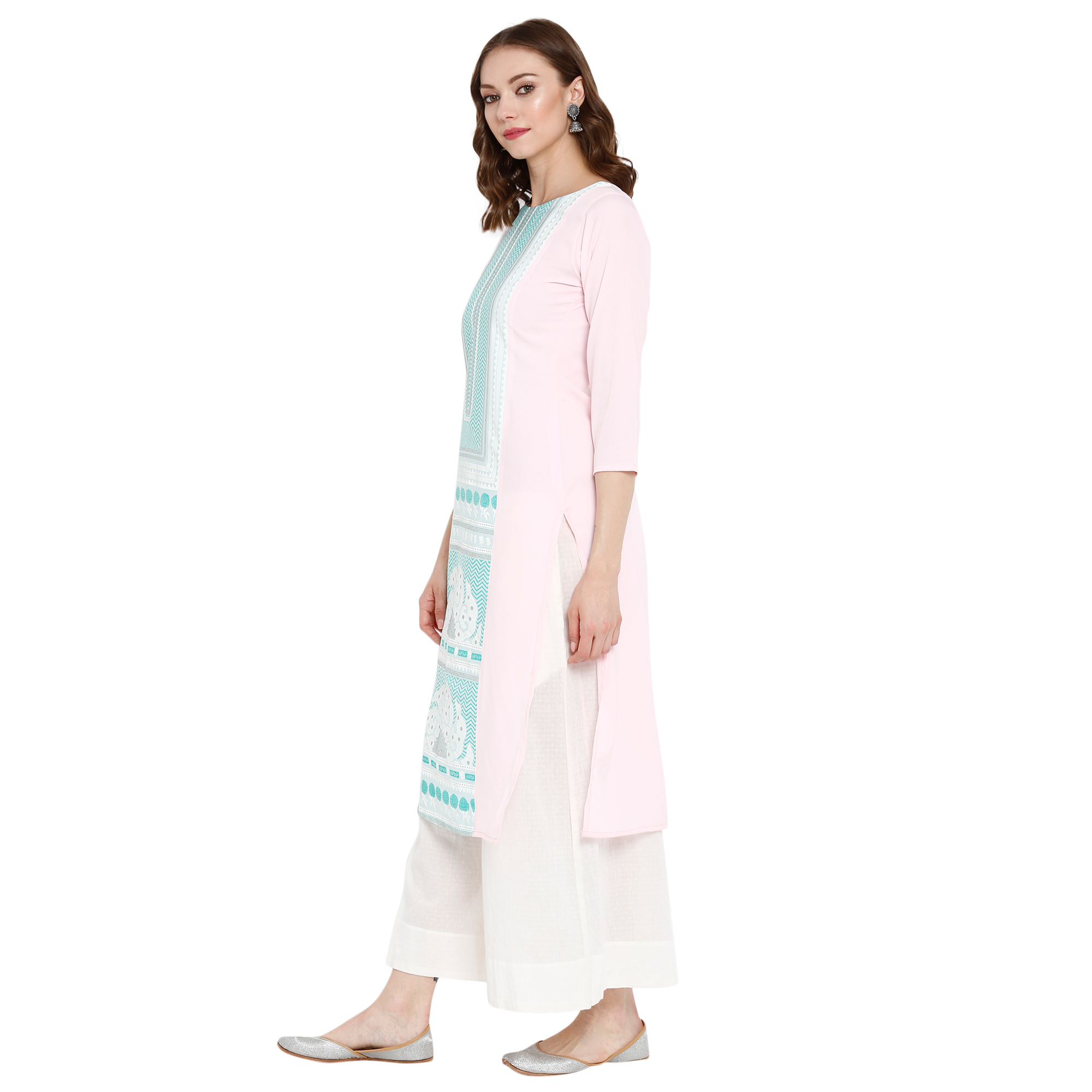 Ethnic Light Pink Colored Casual Wear Printed Crepe Kurti