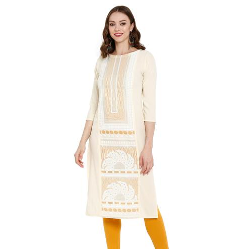 Ravishing Cream Colored Casual Wear Printed Crepe Kurti