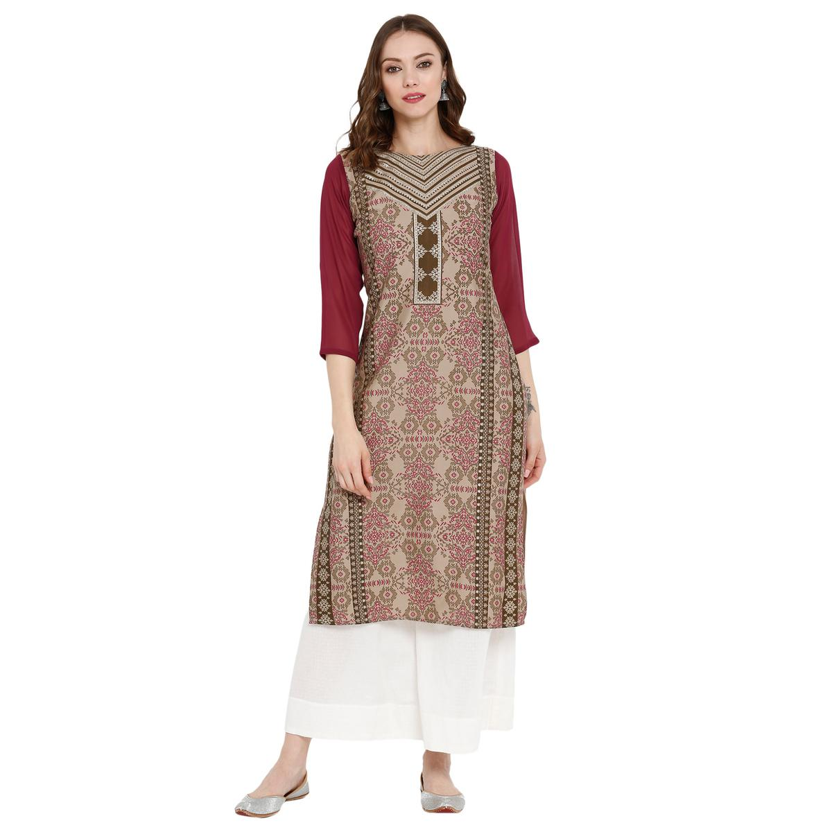 Dazzling Brown Colored Casual Wear Printed Crepe Kurti