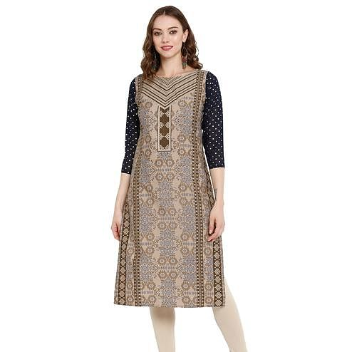 Surpassing Brown Colored Casual Wear Printed Crepe Kurti