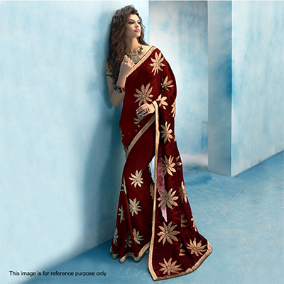 Brown Floral Embroidered Work Saree
