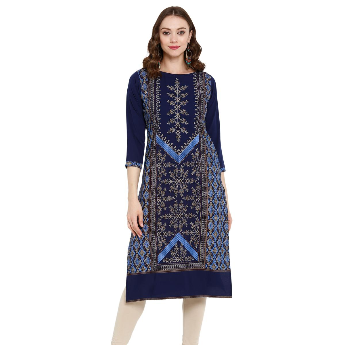 Intricate Blue Colored Casual Wear Printed Crepe Kurti
