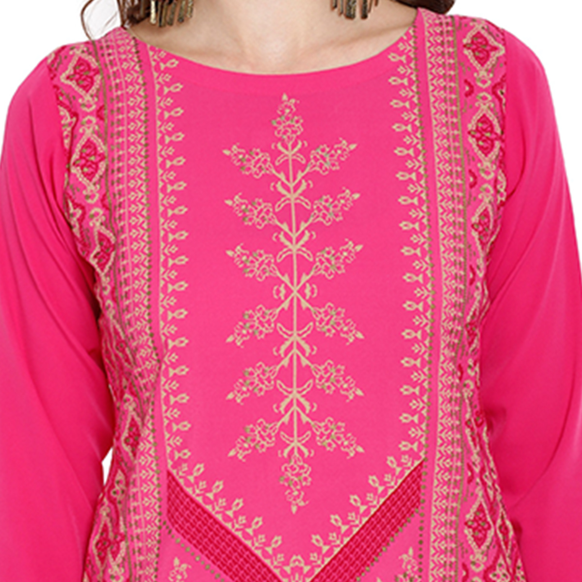 Elegant Pink Colored Casual Wear Printed Crepe Kurti