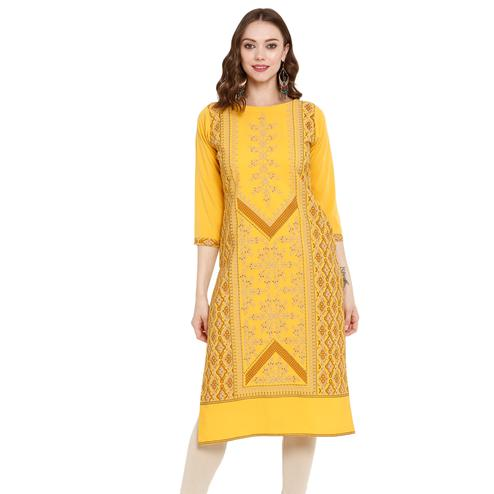 Pleasant Yellow Colored Casual Wear Printed Crepe Kurti