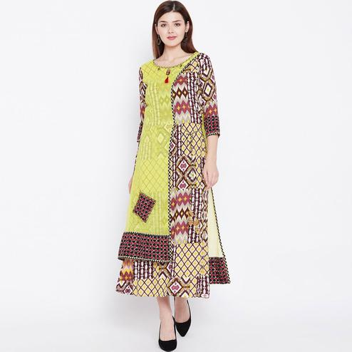 Desirable Multicolor Colored Casual Wear Printed Rayon Long Kurti