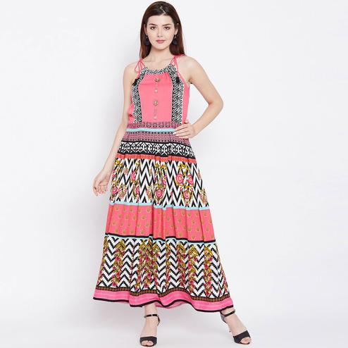 Exotic Pink Colored Casual Wear Printed Rayon Long Kurti