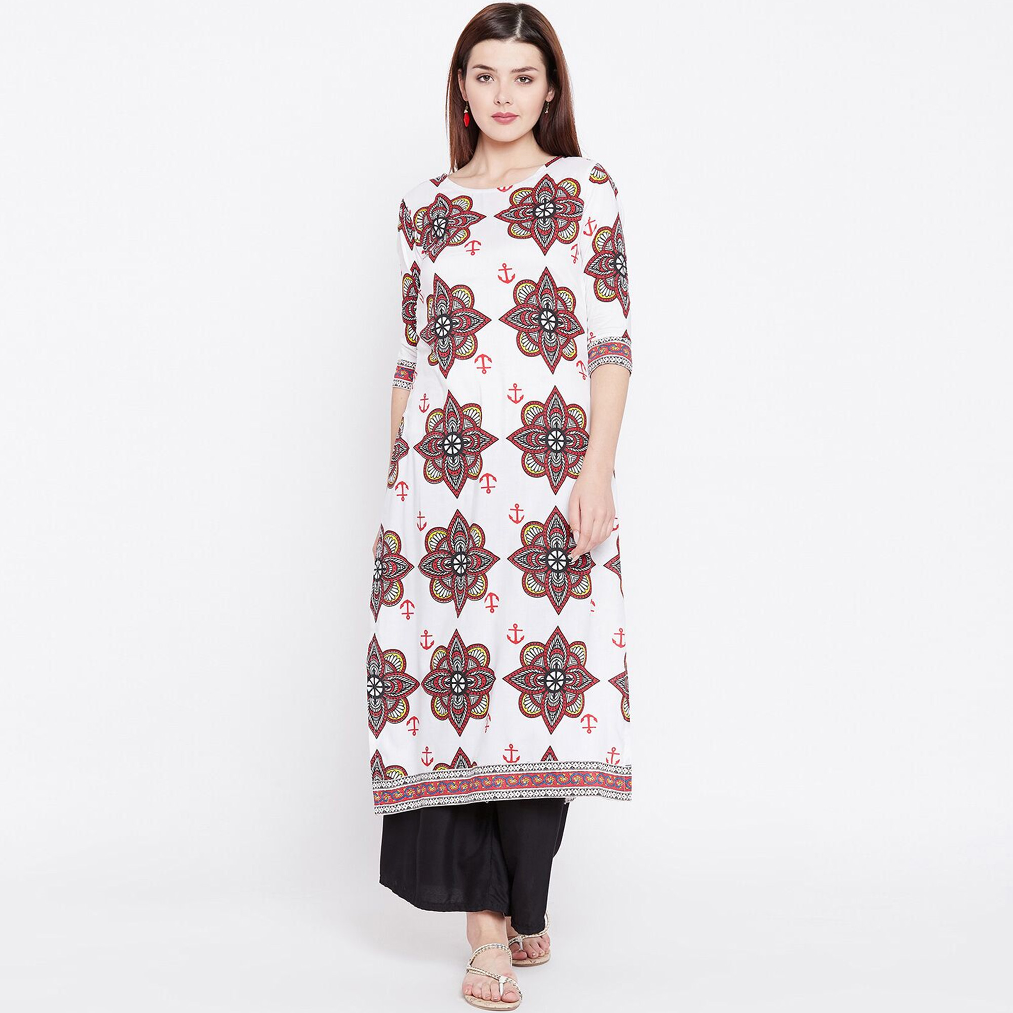 Sophisticated White and red Colored Casual Wear Printed Rayon Kurti