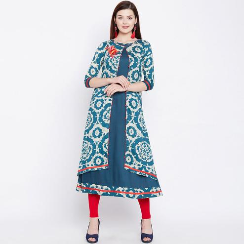Trendy Teal blue Colored Casual Wear Printed Rayon Long Kurti
