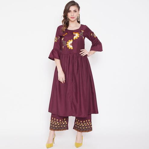 Elegant Wine Colored Casual Wear Embroidered Modal Kurti-Palazzo Set