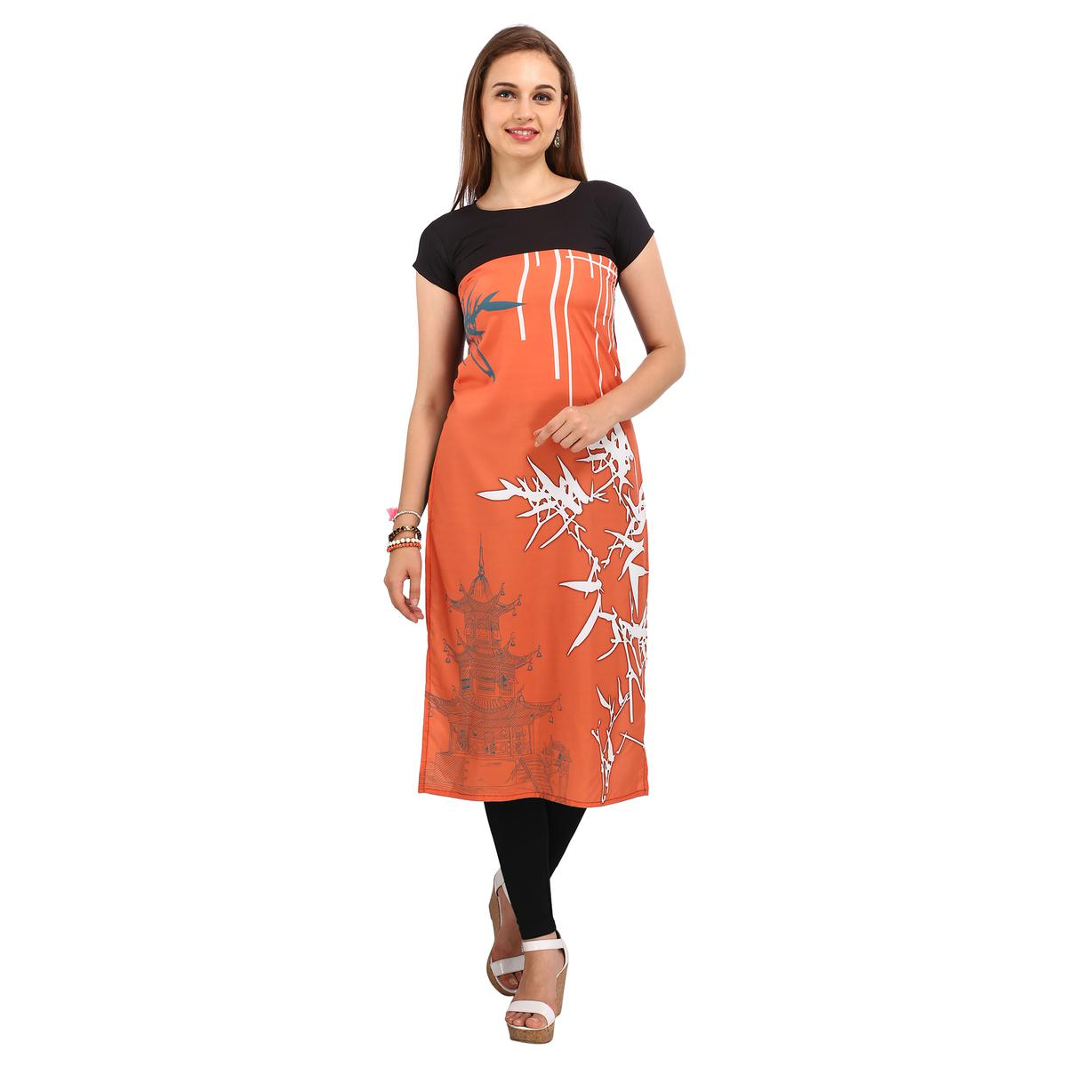 Orange - Black Printed Crepe Kurti