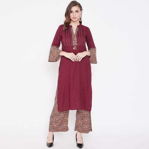 Radiant Maroon Colored Casual Wear Printed Rayon Kurti-Palazzo Set
