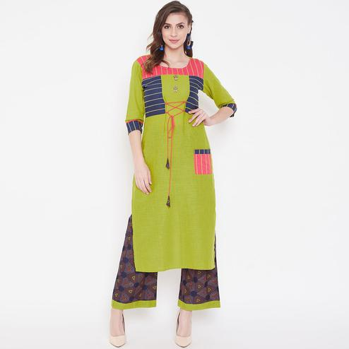 Pleasant Green Colored Casual Wear Printed Cotton Kurti-Palazzo Set