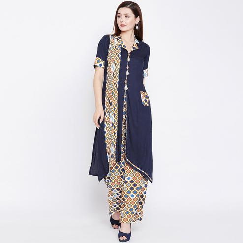 Energetic Blue Colored Casual Wear Printed Rayon Kurti-Palazzo Set