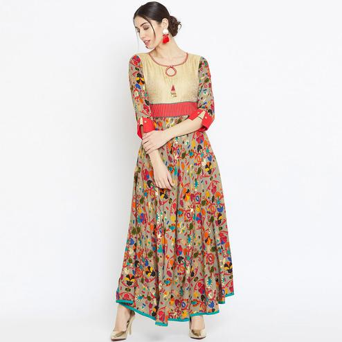 Glowing Multicolor Colored Casual Wear Printed Rayon Long Kurti