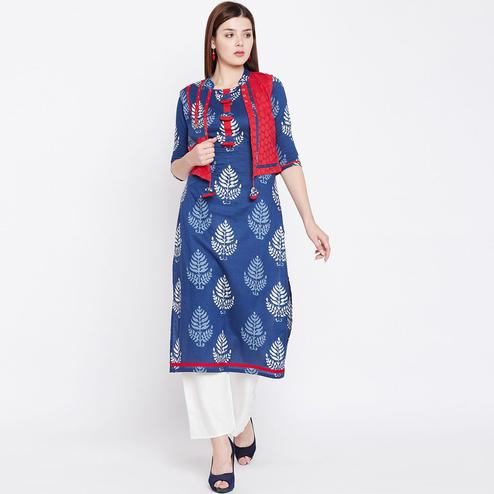 Intricate Blue Colored Casual Wear Printed Cotton Kurti