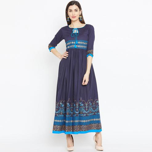 Unique Navy Blue Colored Casual Wear Printed Cotton Long Kurti
