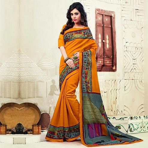 Orange Bhagalpuri Silk Printed Saree