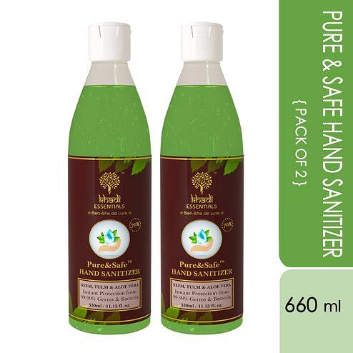 Khadi Essentials Basics Pure-Safe Instant Hand Sanitizers - (Pack of 2 - 330ml bottles) - 660ml