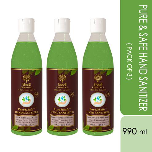 Khadi Essentials Basics Pure-Safe Instant Hand Sanitizers - (Pack of 3 - 330ml bottles) - 990ml
