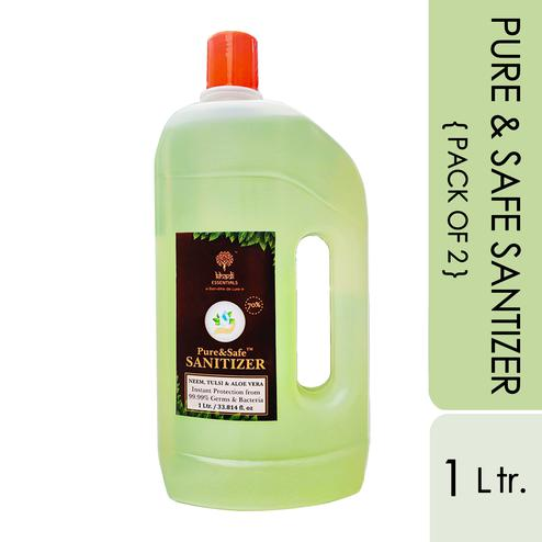 Khadi Essentials Basics Pure-Safe Instant Multi Purpose Sanitizers - 2L (Pack of two 1L Cans)