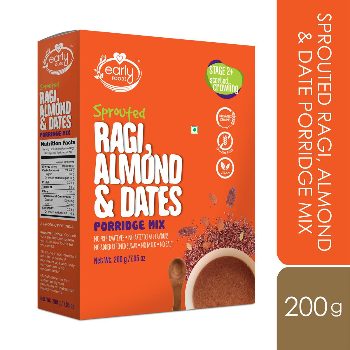 Early Foods - Sprouted Ragi - Almond - Date Porridge Mix 200g